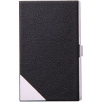 Black Leather Stainless steel Metal Credit Business ID Card Case Holder New