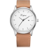 Man Quarts Casual Business PU Leather Wrist Watch (Brown Belt White Face)