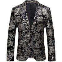 Men Floral Suit Bronzing Lapel Slim Fit Formal Business Blazer(Silver/2XL)