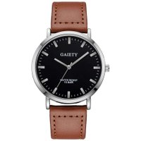 Men Quartz Wristwatches Casual Big Dial Leather Band Business Watch Clock