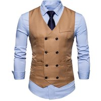 New Waistcoat Suit Vest Spring Men Casual Business Fashion Slim Fit Solid Color Double-Breasted Buttons