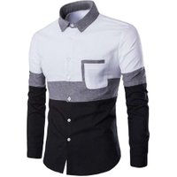 Stylish Mens Dress Shirt Long Sleeve Business Slim Fit Casual Shirts High Quality Social Shirts Patchwork Style New Arrival